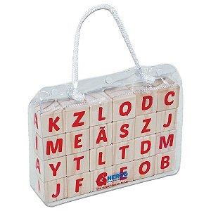 Brinquedo Educativo em Madeira - Cubo Letras - 24 pçs - Hergg