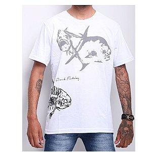 Camiseta 100% Algodão de Pesca Permit Skull Branca