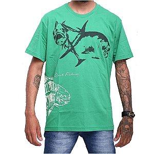 Camiseta 100% Algodão de Pesca Permit Skull Verde Menta