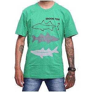 Camiseta 100% Algodão de Pesca Snook Fish Verde Menta