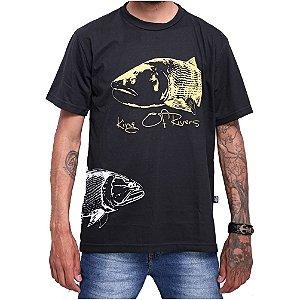 Camiseta Ecológica de Pesca Dourado King Preta