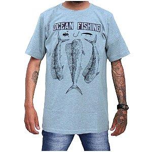 Camiseta Ecológica de Pesca Ocean Fishing Cinza Mescla