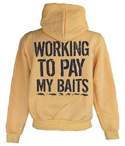Moletom de Pesca Aberto com Ziper e Capuz Working To Pay My Baits Amarelo