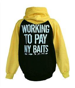 Moletom de Pesca Fechado Raglan e Capuz Working To Pay My Baits Preto e Amarelo