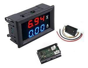 Voltímetro e Amperímetro Digital 3 dígitos 100V 10A