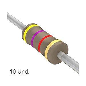 Resistor 1/4W 4K7 Ohms X 10 Unidades