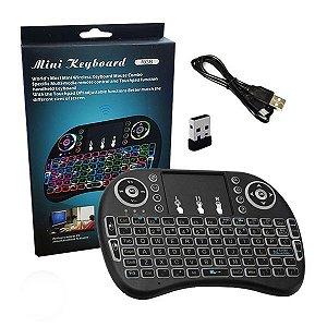 Mini Teclado com Touchpad Wireless 2.4gHz com Bateria de Lítio