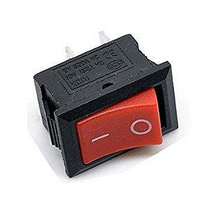 Interruptor Chave Gangorra 2 terminais preto e vermelho 6A/250V - 10A/125V