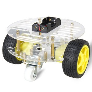 Kit Chassi Redondo 2WD Rodas Robô Para Arduino Diy