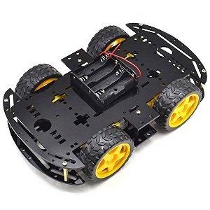 KIt Chassi com 4 Rodas 4WD Acrílico Preto