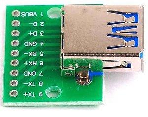 Módulo Adaptador USB Fêmea 3.0 para DIP