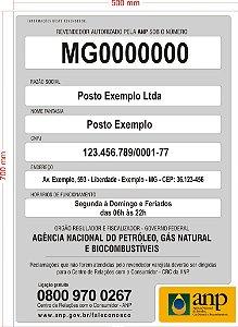 Placa ANP Obrigatória Identificação Do Posto