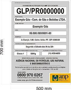 Placa ANP Obrigatória Identificação Revenda de Gás GLP