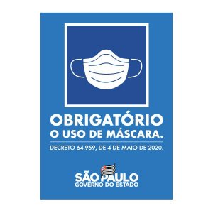 Placa USO OBRIGATÓRIO DE MÁSCARA - Governo de SP