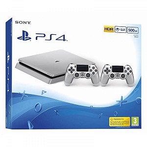 Console PS4 Slim cor Prata com 500 Gb e 2 controles