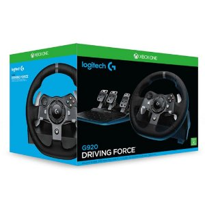 Volante com Pedal Logitech Driving Force G920 para Xbox One/PC Preto