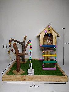Playground para aves com casinha e espelho