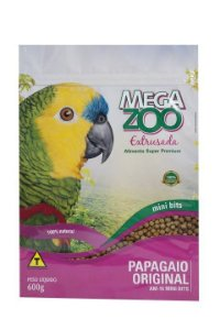 Ração Megazoo Papagaio Original Mini Bits - 600g e 12kg