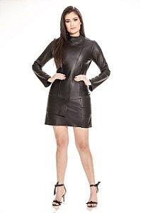 Vestido Carol em Couro Pelica Legítima