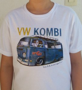 Camiseta Infantil Kombi Branca