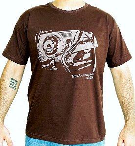 Camiseta Masculina Fusca Painel Marrom