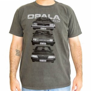 Camiseta Masculina Opala Quadrado Cinza