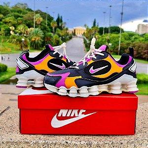 Tênis Nike Shox Novo 12 Molas TL - Preto/Laranja e Roxo