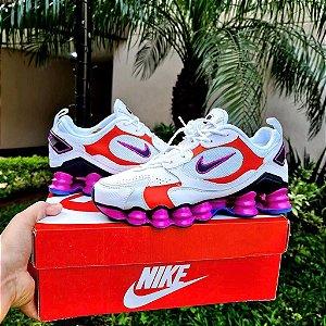 Tênis Nike Shox 12 Molas TL 2021  - Branco/Laranja e Roxo