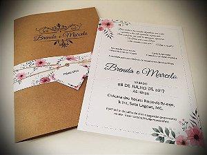 Convite casamento floral moderno