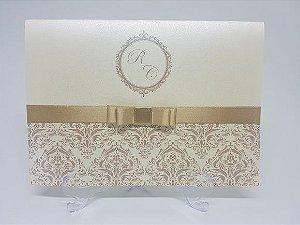 Convite de casamento Dourado Perolado