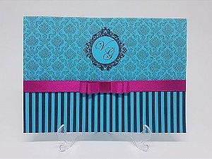 Convite azul Tiffany e pink