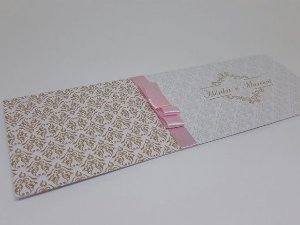 Convite de 15 anos rosa e dourado metalizado