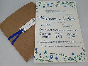 Convite de casamento floral azul