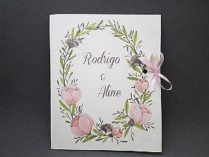 Convite de casamento folhas e flores