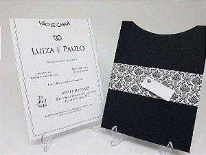 Convite casamento preto com envelope