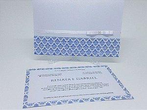 Convite de casamento clássico azul metal
