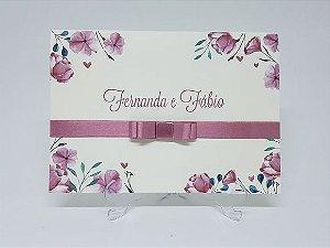 Convite casamento delicado flores