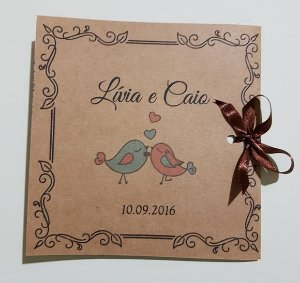 Convite casamento rustico com cetim