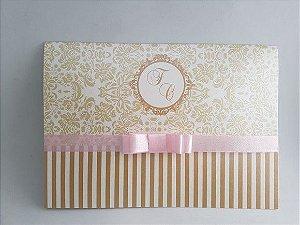 Convite de casamento rosa dourado pérola