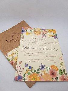 Convite casamento rústico floral aquarel