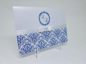 Convite Azul e branco metalizado