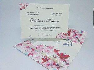 Convite de casamento floral rosas