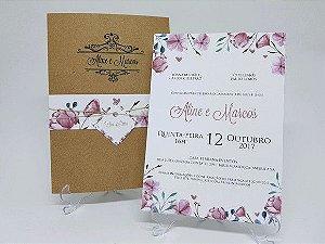 Convite de casamento rustico floral