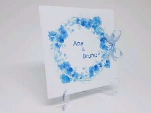 Convite casamento azul floral