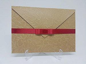 Convite vermelho rustico de casamento