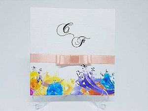 Convite aniversario aquarela
