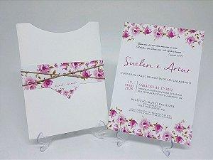 Convite de casamento rosa floral envelope