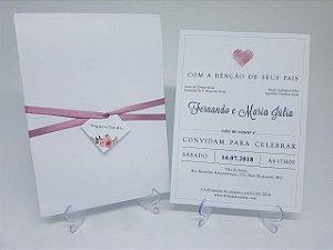 Convite casamento branco coracao