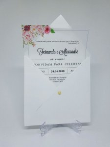 Convite casamento floral papel vegetal