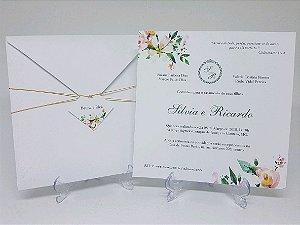 Convite casamento branco e verde